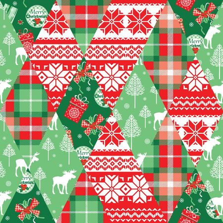 chequered ribbon: Christmas and New Year patchwork seamless background. Vector Design Templates Collection for Banners, Flyers, Placards, Posters and other use.