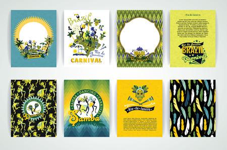 carnaval: Big set du Brésil Carnaval Fond. Modèles pour écriteaux, d'affiches, de dépliants et bannières Designs. Illustration