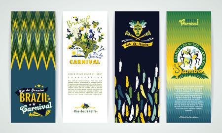 carnaval: Bannières verticales prévues avec le Brésil Carnaval Fond. Éléments de design