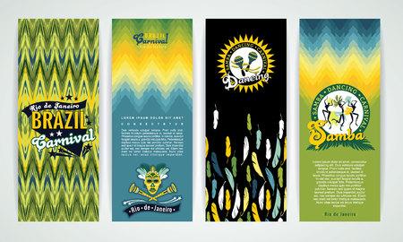 loro: Banderas verticales fijados con Fondos Brasil Carnaval. Elementos para el dise�o