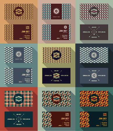 masculine: Big set of business card template, vintage retro background with geometric pattern and Hipster logo. Vector illustration. Illustration