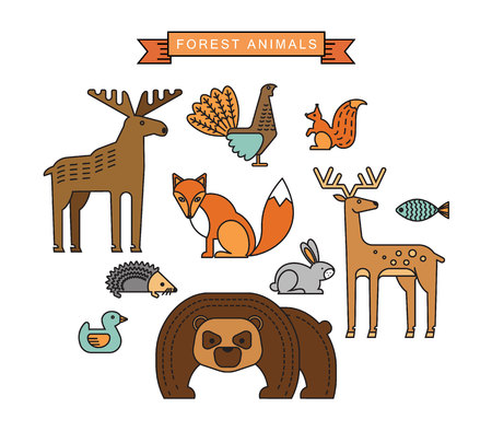 Vector illustrations of forest animals. Trendy linear design elements. Иллюстрация
