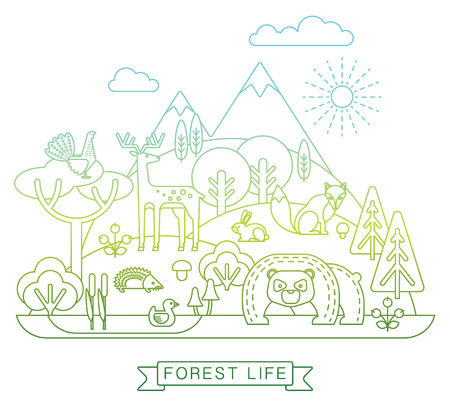 flora fauna: Vector illustration of forest life. Forest flora and fauna. Trendy graphic style.