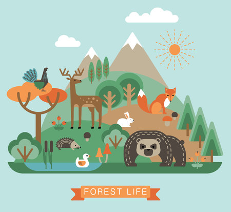 ecology emblem: Vector illustration of forest life. Forest flora and fauna. Trendy graphic style.