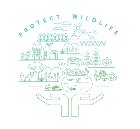 protection icon: Vector illustration of protection nature. Forest flora and fauna. Trendy graphic style. Illustration