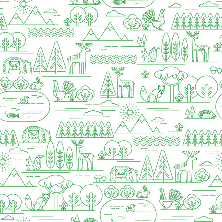 fauna: Vector seamless pattern with forest flora and fauna. Trendy graphic style.