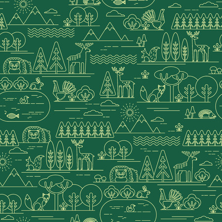 flora fauna: Vector seamless pattern with forest flora and fauna. Trendy graphic style.