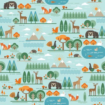 animales del bosque: Modelo incons�til del vector con la flora y fauna del bosque. estilo gr�fico de moda.