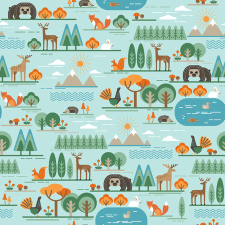 bear lake: Vector seamless pattern with forest flora and fauna. Trendy graphic style.