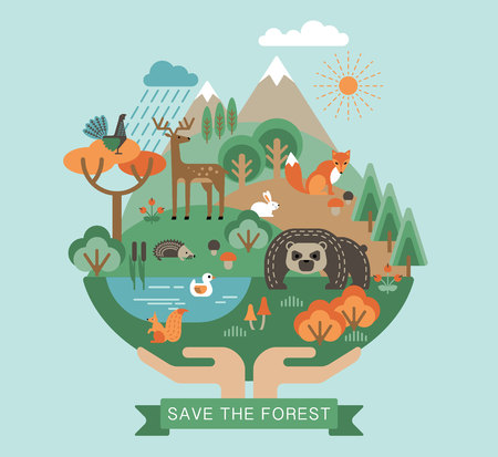 Vector illustration of protection nature. Forest flora and fauna. Trendy graphic style. Vettoriali