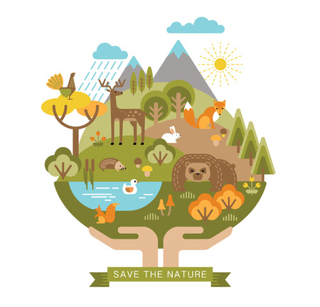 Vector illustration of protection nature. Forest flora and fauna. Trendy graphic style. Ilustração