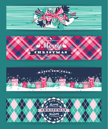christmas plaid: Christmas and New Year Set. Plaid backgrounds. Vector Design Templates Collection for Banners, Flyers and other use.