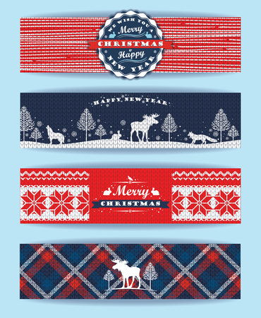 christmas plaid: Christmas and New Year Set. Plaid and knitted backgrounds. Vector Design Templates Collection for Banners, Flyers and other use. Illustration
