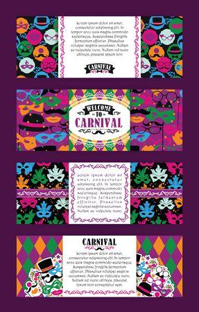 Feestelijk achtergrond met carnaval iconen en objecten. Vector design templates Collection voor banners, flyers en ander gebruik.