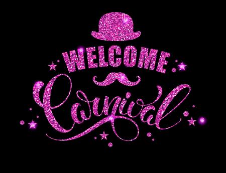 congratulations banner: Carnival glittering lettering design. Vector illustration Illustration