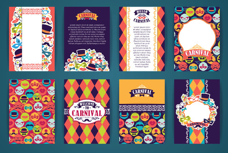 carnival masks: Celebration festive background with carnival icons and objects. Vector Design Templates Collection for Banners, Flyers, Placards, Posters and other use.