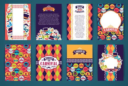 sjabloon: Feestelijk achtergrond met carnaval iconen en objecten. Vector design templates Collection voor Banners, Flyers, Placards, posters en ander gebruik. Stock Illustratie