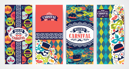 postcard background: Celebration festive background with carnival icons and objects. Vector Design Templates Collection for Banners, Flyers, Placards, Posters and other use.