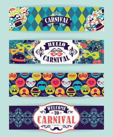 postcard background: Celebration festive background with carnival icons and objects. Vector Design Templates Collection for Banners, Flyers and other use.