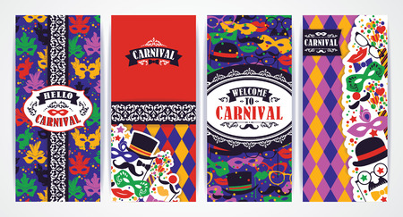 Celebration festive background with carnival icons and objects. Vector Design Templates Collection for Banners, Flyers, Placards, Posters and other use. Vector Illustration