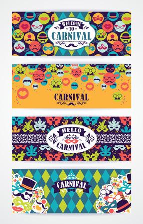 mascaras de carnaval: Celebraci�n festiva de fondo con los iconos y objetos de carnaval. Vector de las plantillas del dise�o Colecci�n de banners, folletos y otros usos.