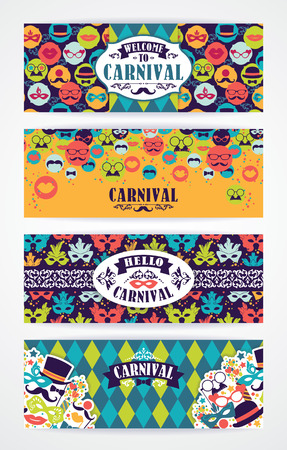 carnival masks: Celebration festive background with carnival icons and objects. Vector Design Templates Collection for Banners, Flyers and other use.