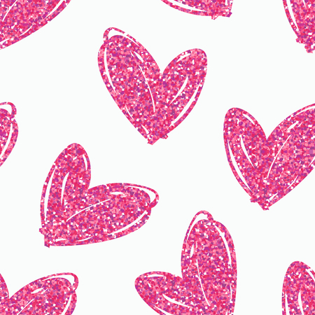 glitter hearts: Vector seamless pattern with hand drawn glitter hearts. Design element for valentines day, save the date, wedding stationary and other users. Illustration