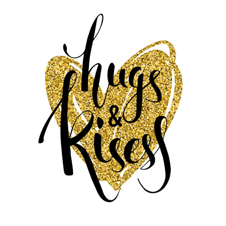 Print design: Hand lettering design with glitter texture. Vector design element for valentines day, save the date, wedding stationary and other users.