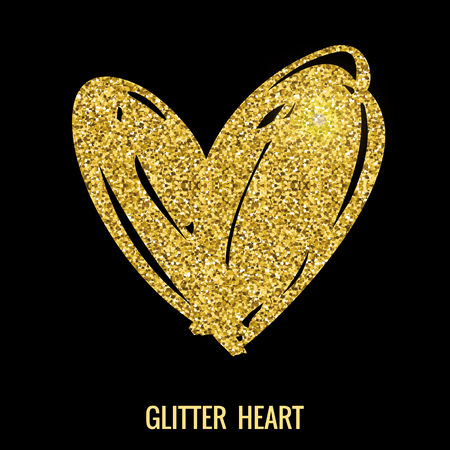 glitter hearts: Hand drawn glitter heart. Vector design element for valentines day, save the date, wedding stationary and other users. Illustration