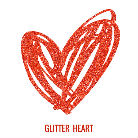 glitter heart: Hand drawn glitter heart. Vector design element for valentines day, save the date, wedding stationary and other users. Illustration