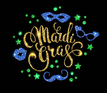 party night: Mardi Gras. Glittering lettering design for Banners. Vector illustration