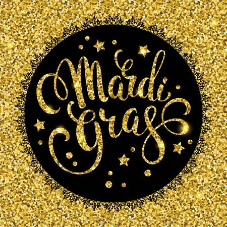 mardi gras background: Mardi Gras. Glittering lettering design for Banners. Vector illustration