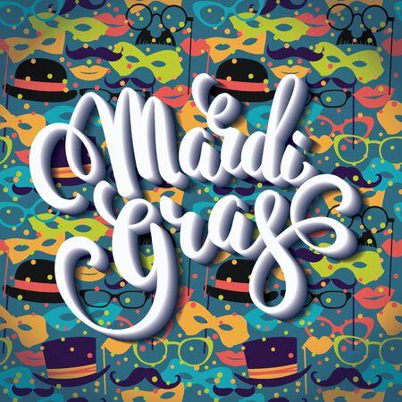 night background: Mardi Gras. Glittering lettering design for Banners. Vector illustration