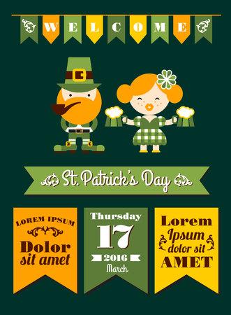 leafed: Saint Patricks Day. Vector flat illustration Illustration