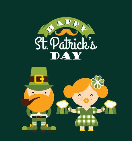 four leafed clover: Saint Patricks Day. Vector flat illustration Illustration