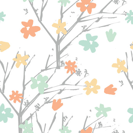 Vector floral pattern in hand drawn style with flowers and branches.