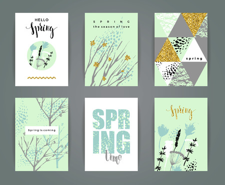 gold textures: Set of artistic creative spring cards. Hand Drawn and gold glitter textures.