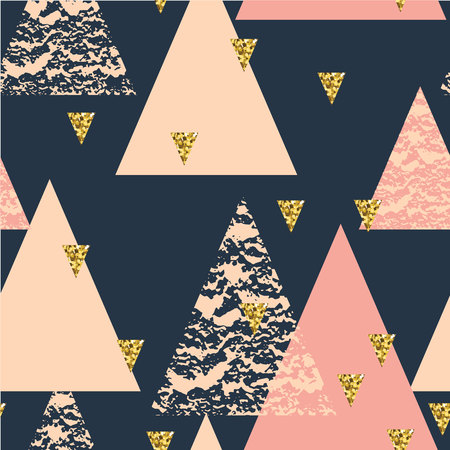 Abstract hand drawn geometric seamless repeat pattern with glitter texture. Vettoriali