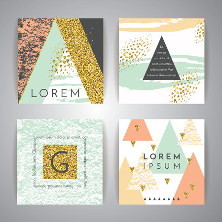 Set of abstract geometric backgrounds. Hand drawn vintage texture and geometric elements. Modern and stylish abstract design poster, cover, card design. Vector templates. Reklamní fotografie - 55070698