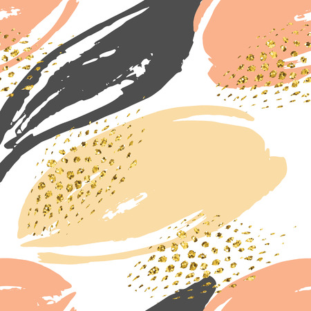 Abstract hand drawn seamless repeat pattern with glitter texture.