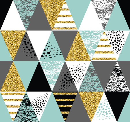 Abstract geometric seamless pattern with trendy glitter and hand drawn textures. Modern abstract design for poster, cover, fabric and other users.