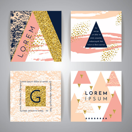 Set of abstract geometric backgrounds. Hand drawn vintage texture and geometric elements. Modern and stylish abstract design poster, cover, card design. Vector templates. Stok Fotoğraf - 55070724