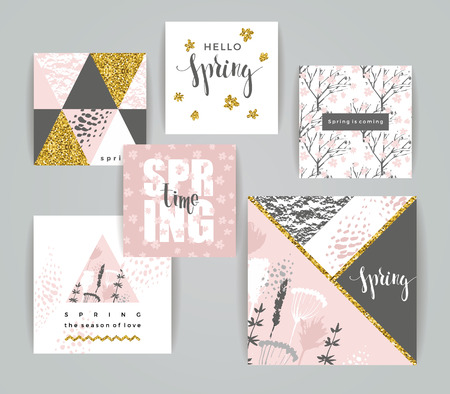 gold textures: Set of artistic creative spring cards. Hand Drawn and gold glitter textures. Design for poster, card, invitation, placard, brochure, flyer. Vector.