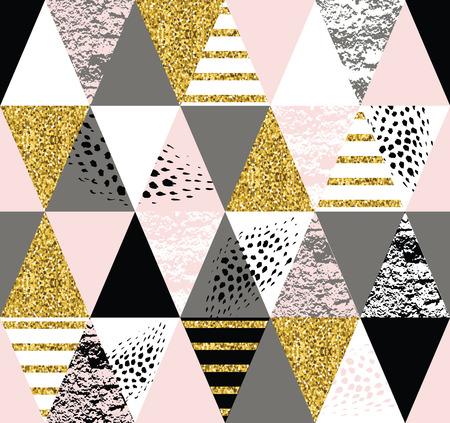 Abstrakte geometrische nahtlose Muster mit trendigen Glitter und handgezeichneten Texturen. Modernes abstraktes Design für Plakat, Abdeckung, Stoff und anderen Benutzern. Standard-Bild - 55067108