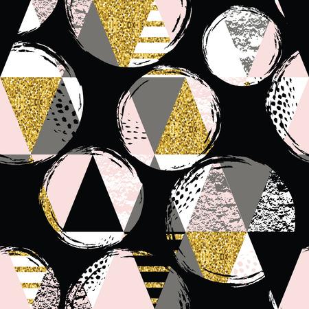 Abstract geometrische naadloze patroon met trendy glitter en met de hand getekende texturen. Modern abstract ontwerp voor de poster, dekking, stof en andere gebruikers.