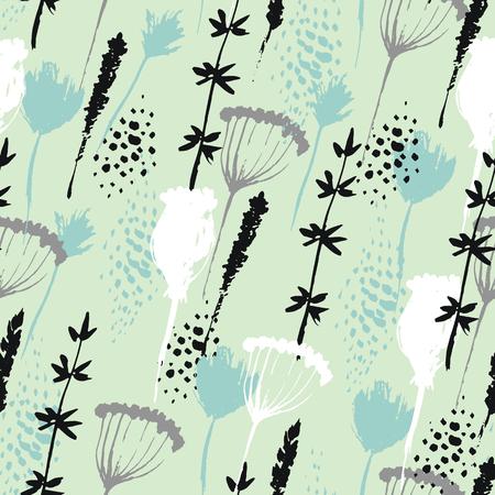 Vector Blumenmuster in Hand gezeichnet Stil mit Blumen und Gras. Sanft, Frühjahr floralen Hintergrund.