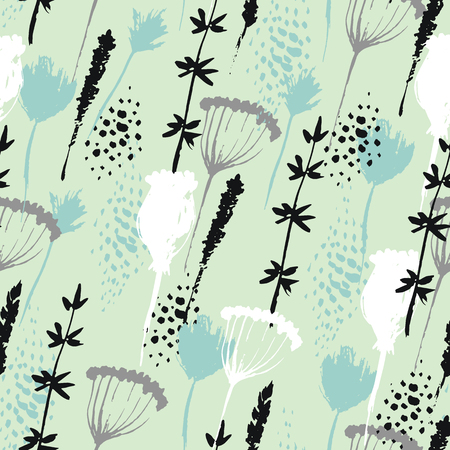 abstract flowers: Vector floral pattern in hand drawn style with flowers and grass. Gentle, spring floral background. Illustration