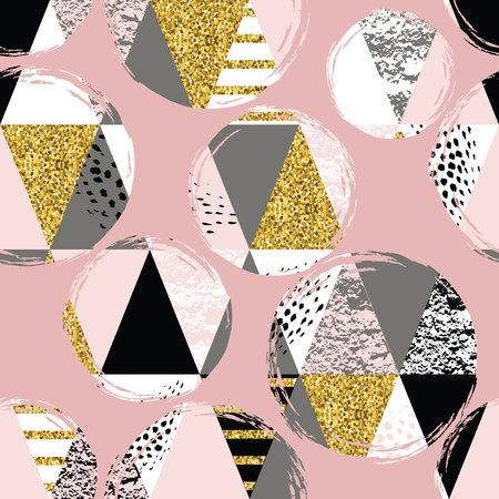 Abstract geometrische naadloze patroon met trendy glitter en met de hand getekende texturen. Modern abstract ontwerp voor de poster, dekking, stof en andere gebruikers. Vector Illustratie