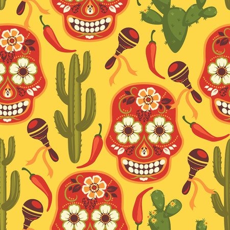 Vector seamless pattern with traditional Mexican symbols. Cinco de Mayo.