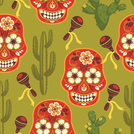 traditional pattern: Vector seamless pattern with traditional Mexican symbols. Cinco de Mayo.